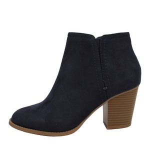 Piano Navy Faux Suede Stack Block Heel Ankle Booti